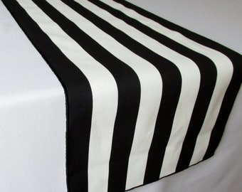 Black And White Striped Table Runner Wedding Table Runner   Black Edge    Select A Size   ON SALE