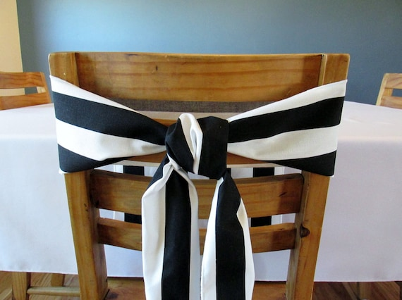 Black And White Striped Chair Sash Select A Size And Thread Etsy