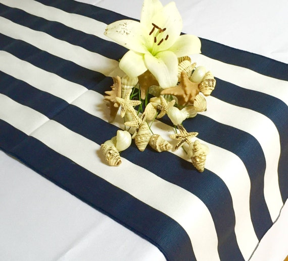 Navy Blue and White Striped Table Runner - Navy blue edges - Select A Size