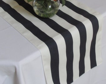 Striped Table Runner White And Navy Blue White Edges Wedding Table Runner    Select A Size