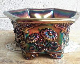 Fenton Carnival Glass Hexagon Chrysanthemum Bowl / Planter