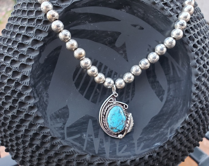 Native American Turquoise Necklace  Sterling Beaded Necklace  Southwest Jewelry  Navajo Jewelry  Turquoise Jewelry  VintageSouthwest