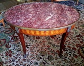 Louis XVI Style Marble Top Handled Coffee Cocktail Butlers Table Made In France Gilted Bronze Parquetry Sabot Hoofed Feet FREE SHIPPING