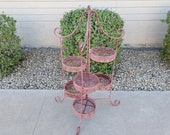 Pink Pagoda Folding Metal Plant Stand Mid Century Plant Stand Indoor Outdoor Garden Decor Asian Plant Stand Asian Garden Decor