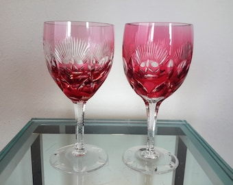 Bohemian/czech Pair Of Bohemian Cranberry Cut To Clear Wine Hock Goblets Etched Star Design