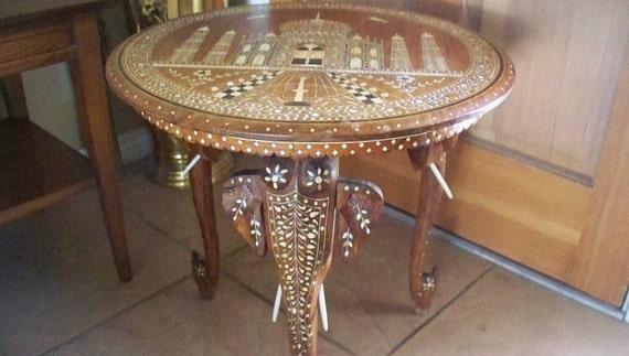 Antique INDIAN ELEPHANT Taj Mahal Motif Side Table Carved | Etsy