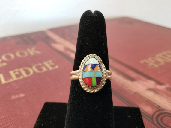 Sterling Silver Sleeping Beauty Zuni Style Southwest Ring US Size 6