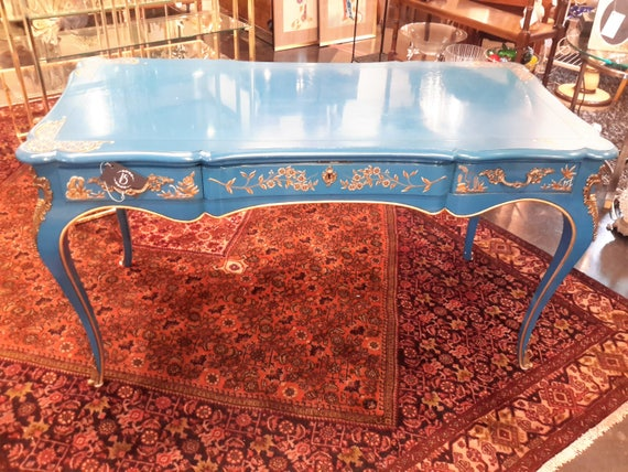 Cool Rare John Widdicomb Chinoiserie Desk Cerulean Blue Sabot Metal Feet Exquisite New York Chic Luxe Designer Decor Louis Xv Style Writing Desk Gmtry Best Dining Table And Chair Ideas Images Gmtryco