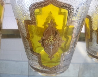 Culver Barware Glasses Set of 6 Limoncello 22K Gold Crest DOF Size Pristine Condition Barware Gift 1960's