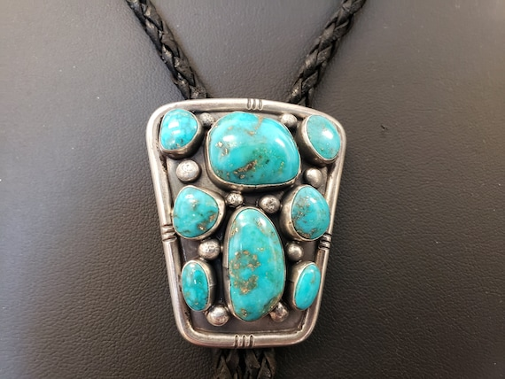 Turquoise & Sterling Silver Bolo Tie / Handcrafted