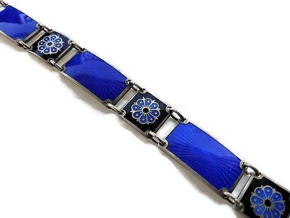David Anderson Jewelry Guilloche Bracelet  Norway Scandinavia Mid Century Sterling Link Jewelry  Blue Enamel  Vintagesouthwest