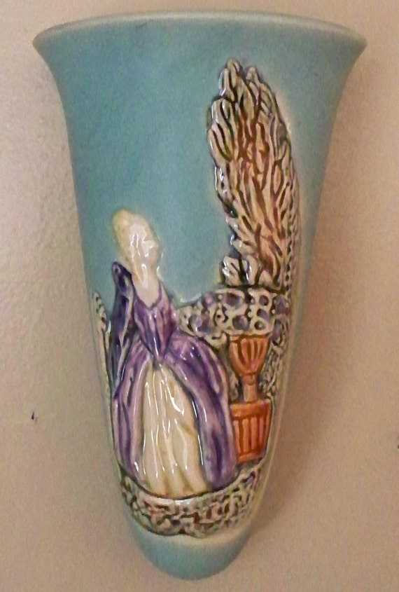 Vintage Weller Pottery Wall Pocket Vase Early 30s Etsy