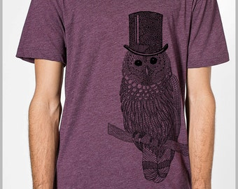 43804d67a Snow Owl Men's T Shirt with Top hat Unisex American Apparel xs, s, m, l, xl  9 COLORs Gift for her Gift for him 2-1