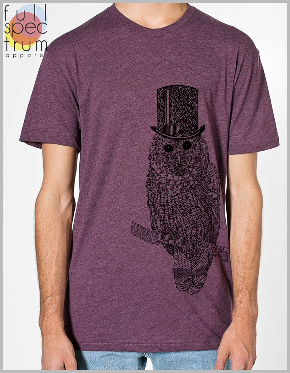 Snow Owl Men's T Shirt with Top hat Unisex American Apparel xs, s, m, l, xl 9 COLORs Gift for her Gift for him 2-1