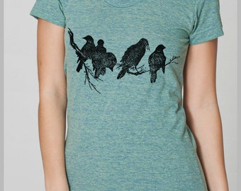Women's Birds on a Limb T Shirt American Apparel Tshirt S, M, L, XL 8 COLORS Gift for her girlfriend tee