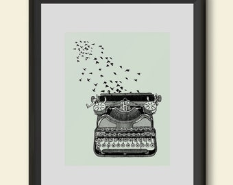 Freedom of Speech Poster Print Typewriter and Birds Writers Inspiration Hand Drawn Giclee Wall Art Home Dorm Room Office Decor Gift