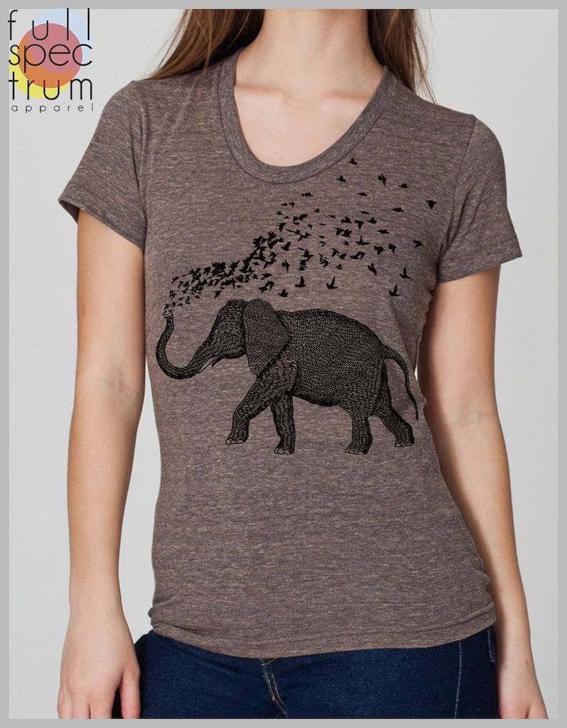 e35913549 Womens Elephant Birds Parade T Shirt American Apparel Hand | Etsy