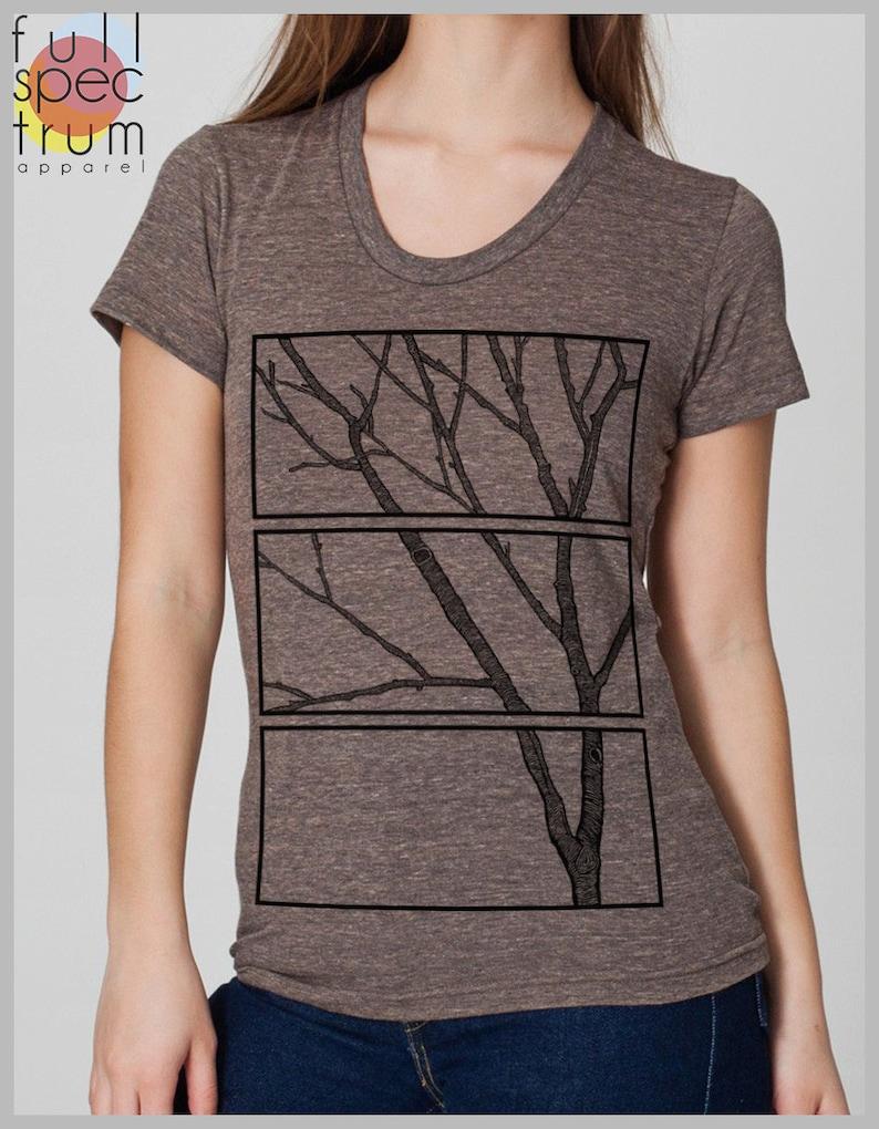 2fb9c350c2aa5 Women's Tree Print T Shirt wood block Tee Shirt American | Etsy