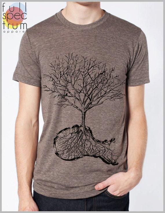 10009458e37 Unique Men s T shirt Dust Nature Tree Roots Birds