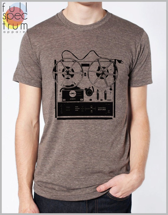 Men's Vintage Music T Shirt Reel to Reel Graphic Tee Shirt Dad Shirt  Musician Band Tshirt Hipster Musical American Apparel XS, S, M, L, XL