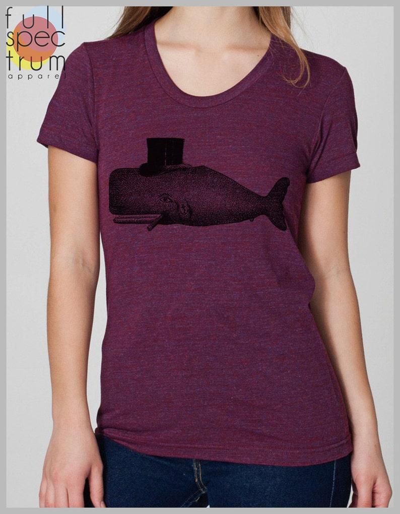 5ba12cc13d849 Whale Top Hat Women's T Shirt American Apparel Womens | Etsy