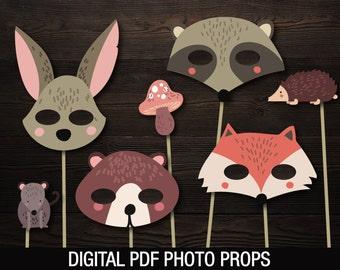 Woodland Animals Photo Prop Masks    Woodland Baby Shower    Fox Raccoon  Rabbit Bear    Printable PDF files a14528b5c623