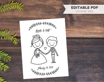 Wedding Coloring Page // Bride & Groom Custom Editable PDF Template