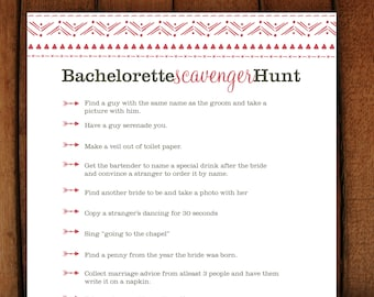 Printable Bachelorette Scavenger Hunt Game Coral Tribal Arrow Instant Download - Ready to print PDF &  Editable Microsoft word file