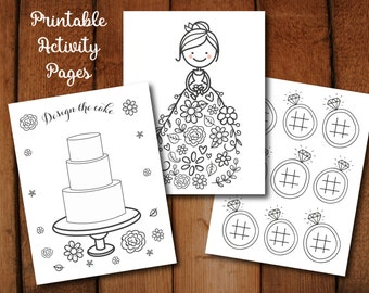 Coloring Children's Activity Page Set for Wedding or Bridal Shower // Printable PDFs