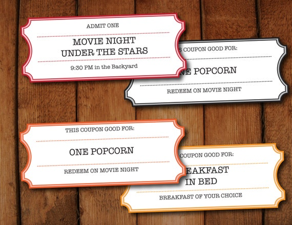 printable coupons tickets vouchers movie night colors etsy