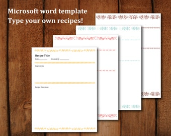 Printable Editable Recipe Pages A4 &  Letter Size (8.5x11)