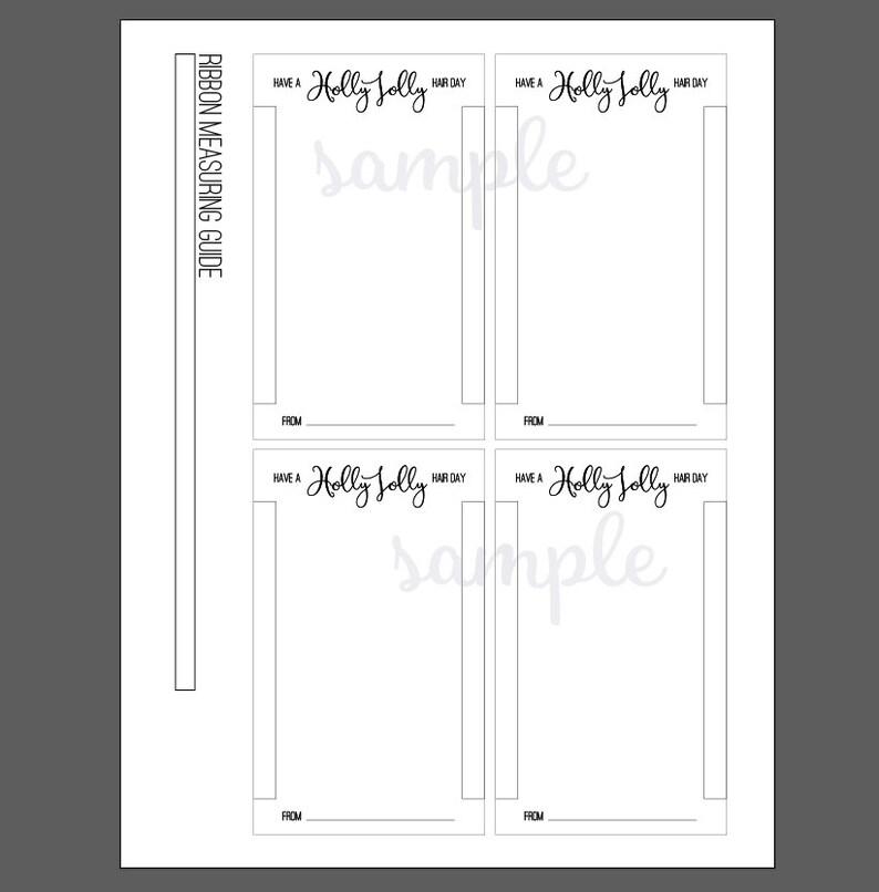 holly jolly hair tie printable card template      diy