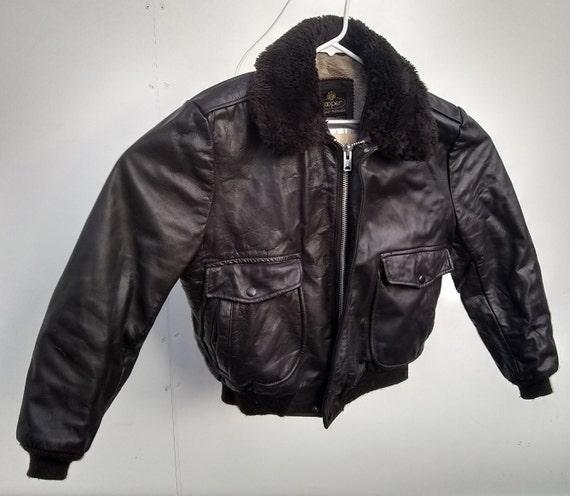 Flight Bomber leather jacket Cooper size 42 dark b
