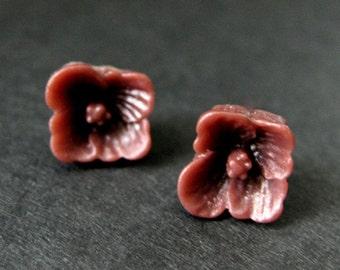 f736d3482e1c Maroon Dogwood Flower Earrings. Dark Red Flower Earrings. Maroon Earrings.  Silver Post Earrings. Dogwood Blossom Earrings. Handmade Jewelry.