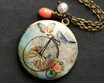 Bluebird Locket Necklace. Bicycle Locket Necklace. Bird Necklace with Pink Coral Teardrop and Pearl. Photo Locket Necklace. Handmade Jewelry