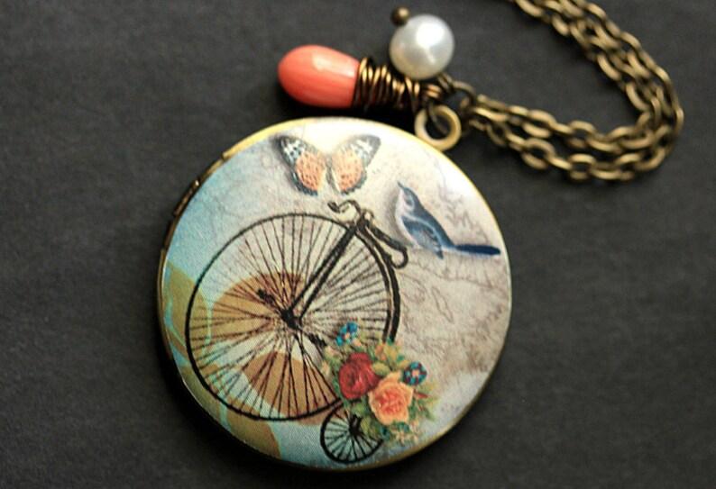 Bluebird Locket Necklace. Bicycle Locket Necklace. Bird image 0