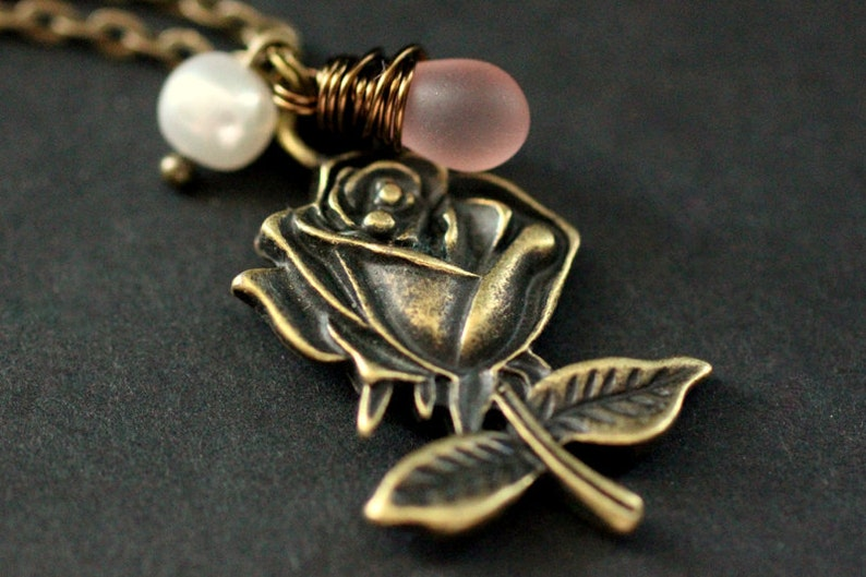 Romantic Rose Necklace in Bronze. Pink Rose Charm Necklace image 0