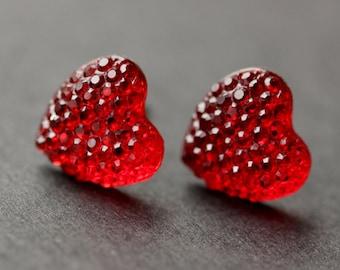 Red Heart Earrings. Silver Heart Earrings. Post Earrings. Sparkle Heart Earrings. Stud Earrings. Handmade Earrings. Handmade Jewelry.