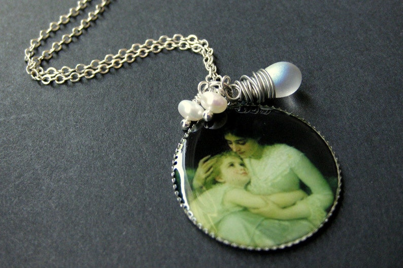 Mother Necklace. Mother and Child Necklace with Clouded image 0