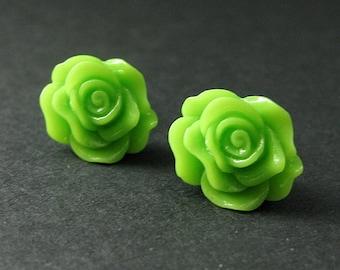 Green Rose Stud Earrings with Bronze Post Earrings. Flower Jewelry. Handmade Jewelry.