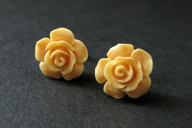 Light Orange Flower Earrings. Pale Orange Earrings. Gardenia image 0