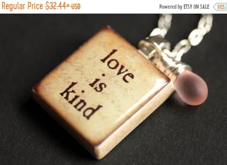HALLOWEEN SALE Love is Kind Necklace. Love Necklace. Scrabble image 0