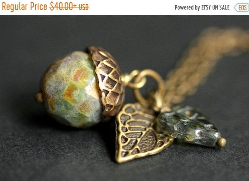 HALLOWEEN SALE Acorn Necklace. Rainforest Acorn Pendant. image 0