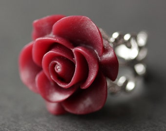 Maroon Rose Ring. Dark Red Flower Ring. Gold Ring. Silver Ring. Bronze Ring. Copper Ring. Adjustable Ring. Handmade Jewelry.