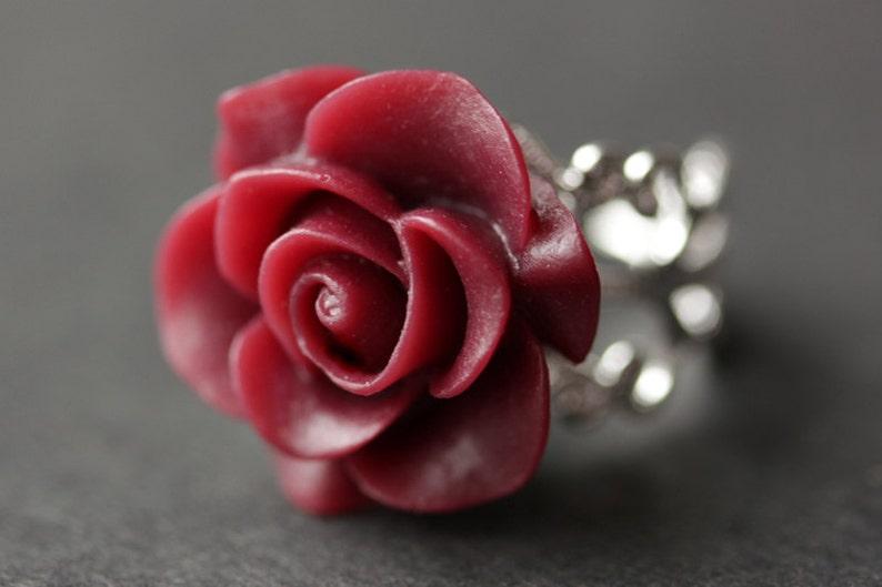 Maroon Rose Ring. Dark Red Flower Ring. Gold Ring. Silver image 0