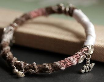 Boho Bracelet. Gypsy Bangle Bracelet. Pink, Brown and White Bohemian Stacking Bangle Textile Bracelet. Hippie Bracelet. Fabric Bangle.