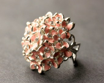 Pink Flower Bouquet Ring. Pink Flower Ring. Rhinestone Ring. Pink Ring. Silver Button Ring. Adjustable Ring. Handmade Jewelry.
