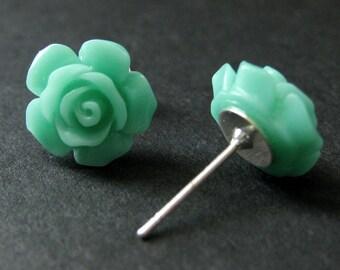 Turquoise Flower Earrings. Turquoise Earrings. Gardenia Flower Earrings. Silver Stud Earrings. Turquoise Rose Earrings. Handmade Jewelry.
