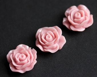 Pink Rose Refrigerator Magnets. Set of Three. Pastel Pink Flower Magnets. Office Magnets. Fridge Magnets. Handmade Home Decor.