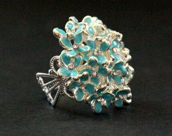 Blue Flower Bouquet Button Ring in Silver with Rhinestone Centers. Adjustable Ring. Handmade Jewelry.